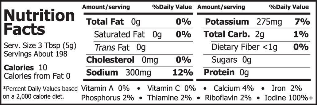 Emerald Cove Ready-to-Use Wakame Nutrition Facts 35 oz