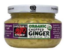 Emperor's Kitchen Organic Chopped Ginger 4.5 oz Glass Jar
