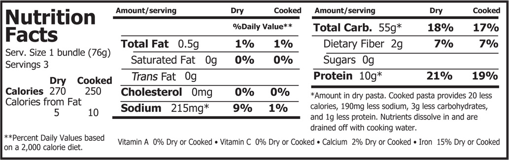 Organic Planet Organic Soba Noodles Nutrition Facts 8 oz