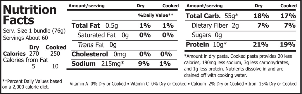 Organic Planet Organic Soba Noodles Nutrition Facts 10 lbs
