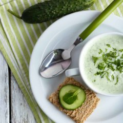 Cucumber Soup with Wasabi-Avocado Cream*