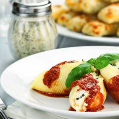 Stuffed Italian Shells seasoned with Miso Master Mellow White Miso
