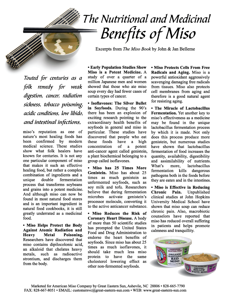 Benefits of Miso Flyer by Jan and John Belleme