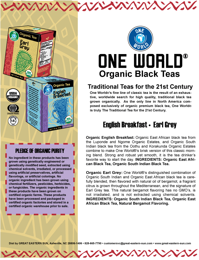 One World® Organic Black Teas Flyer