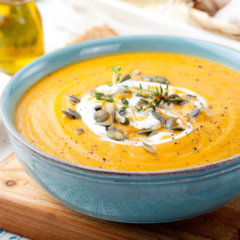 Creamy Squash Soup with Coconut seasoned with Miso Master Organic Sweet White Miso