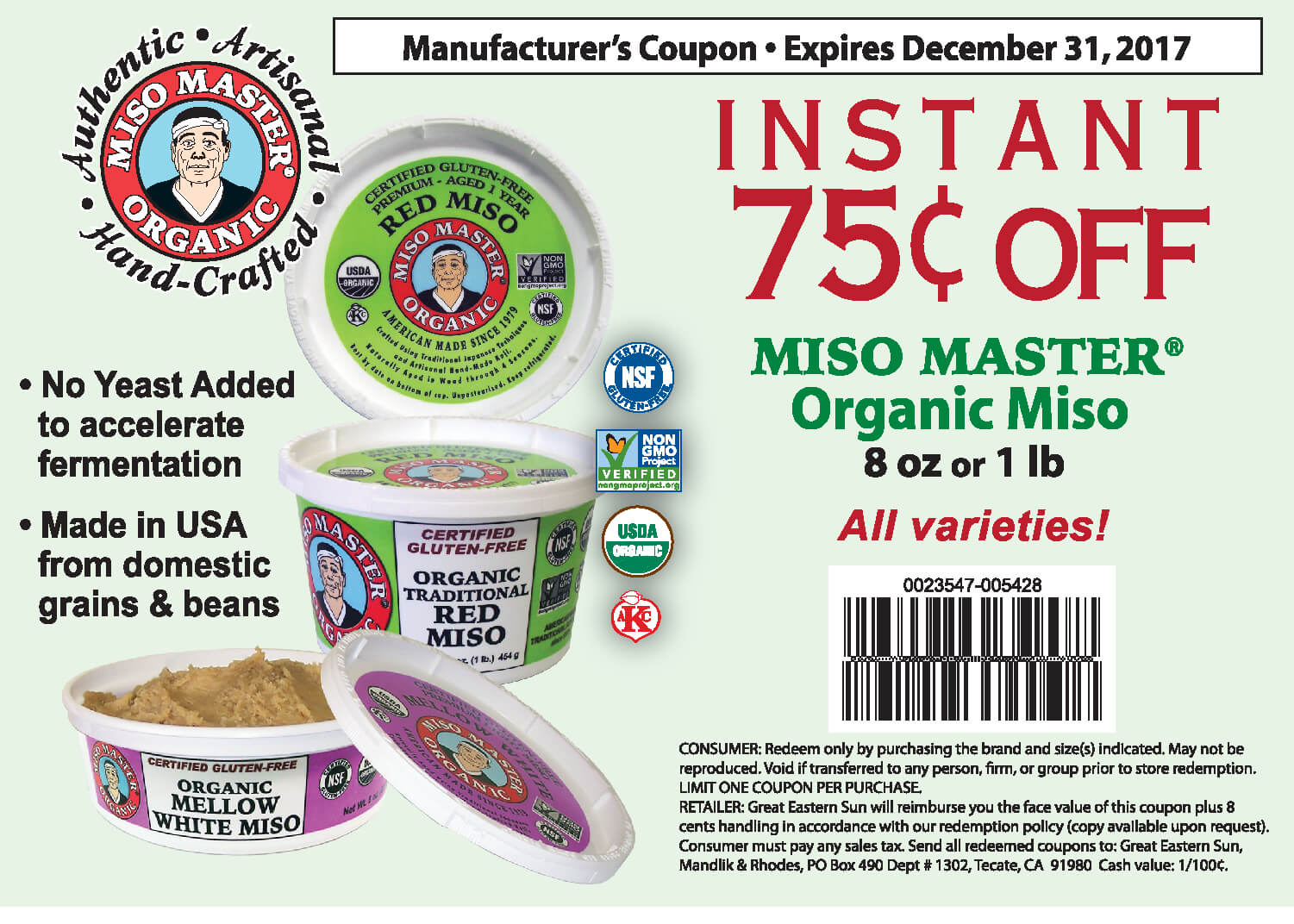 Miso Master Money Saving Coupon