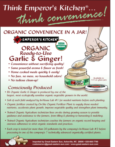Emperor's Kitchen Ready-to-Use Organic Garlic & Ginger Information Flyer