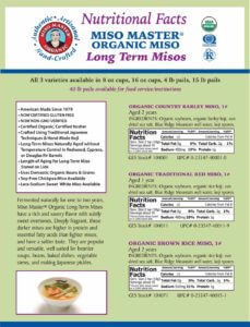 Miso Master Long Term Miso Nutritional Facts