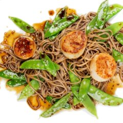Soy-Citrus Scallops with Soba Noodles *