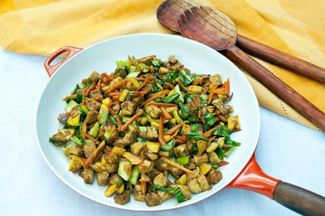 Ginger Tempeh Vegetable Stir Fry by Leslie Cerier