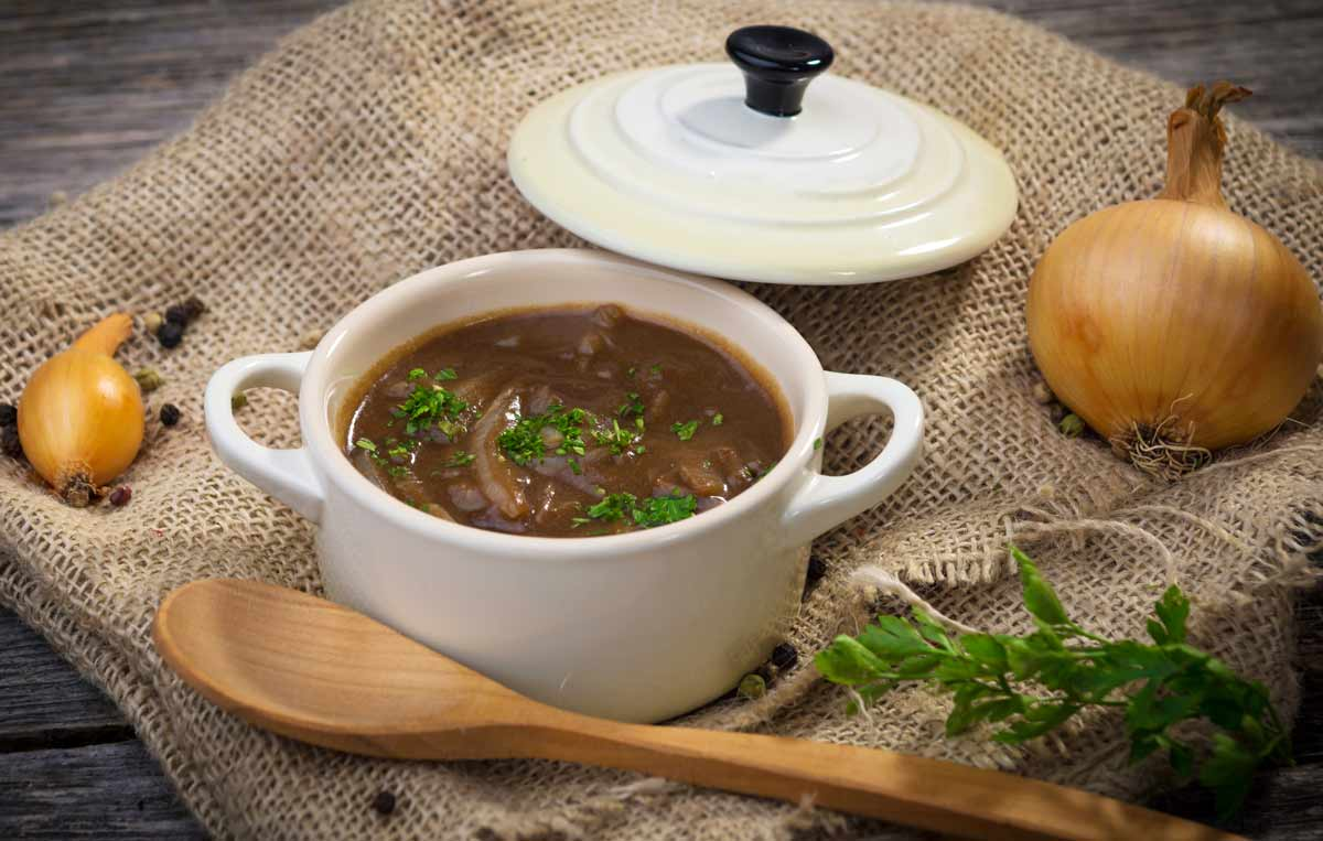 Onion Soup featuring Emperor's Kitchen Organic Shiitake Mushrooms