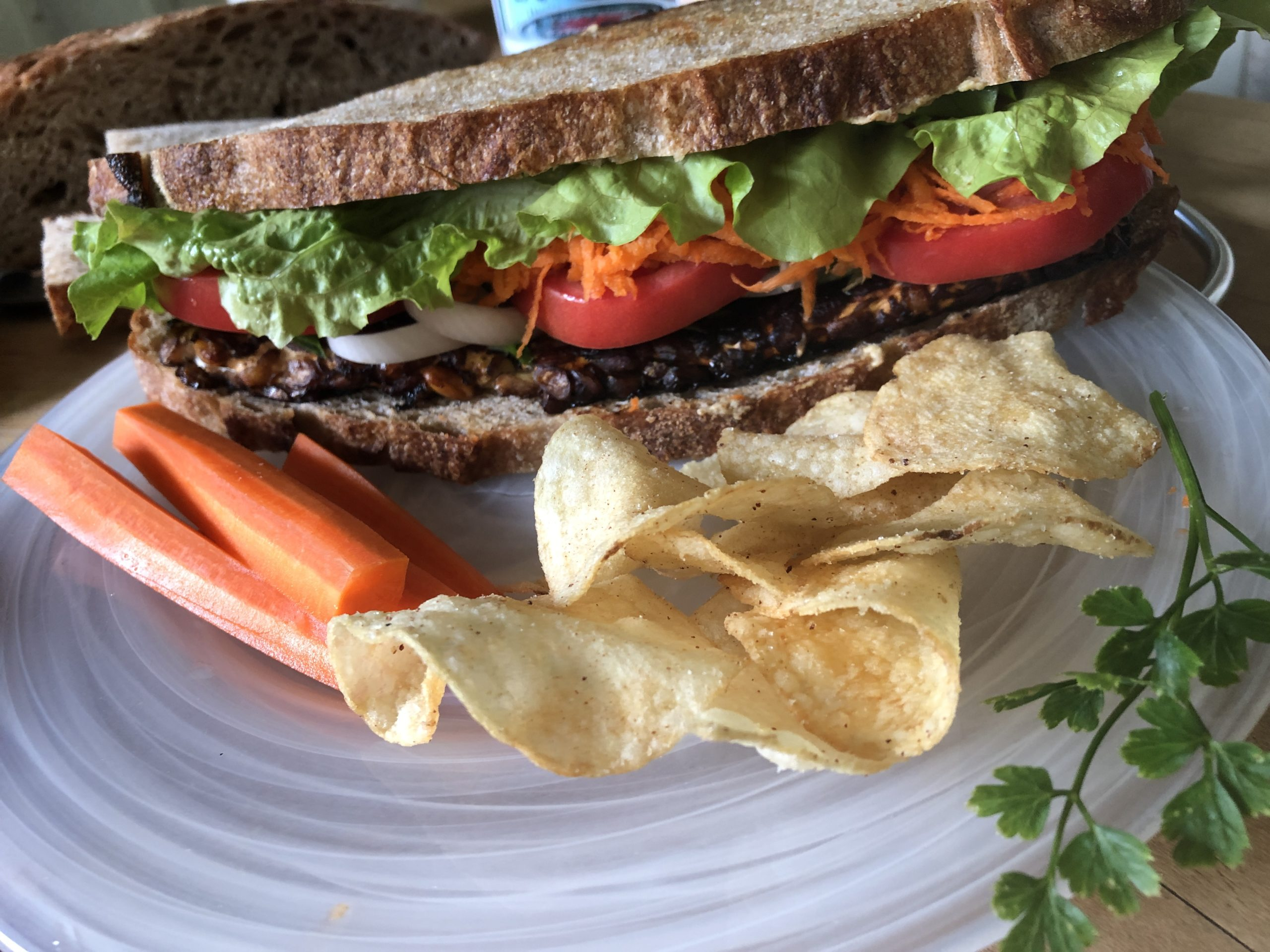 Chef Tom's Sweet & Sour Tempeh Summer Sandwich