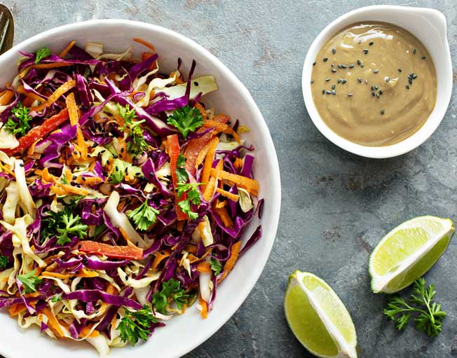 Asian Coleslaw with Miso Dressing made with American made, organic Miso Master Miso